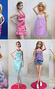 8 Pcs For Barbie Doll Sweet Princess Urban Leisure Style Costume Princess Costumes For Barbie Doll Purple / White Lace Dresses / Skirts / Pants / Tops