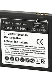 yi-yi ™ 3.7v reemplazo de la batería 2500mAh para sony xperia zr / m36h / c5502 / ba950