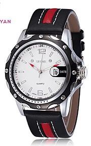 Skone ® Round Dial couro pu japão quartzo relógio de pulso dos homens (cores sortidas)