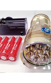 Lanternas LED LED 3 Modo 9600lm Lumens Prova-de-Água / Recarregável / Visão Nocturna Cree XM-L T6 18650.0Campismo / Escursão /