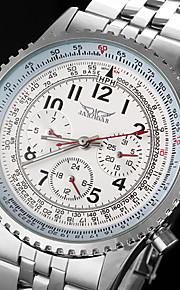 mecânico automático 6 ponteiros prata relógio pulseira masculina