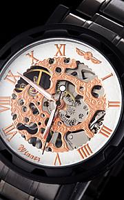 manual do esqueleto oco mecânica dos homens levantou-relógio cara preta pulseira de aço ouro (cores sortidas)