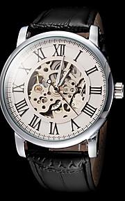 números automáticos dos homens forsining® mecânicos romanos relógio pulseira de couro de discagem oco (cores sortidas)