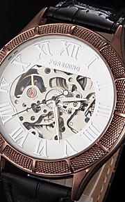 FORSINING Masculino Relógio Esqueleto relógio mecânico Automático - da corda automáticamente Gravação Oca Couro Banda Luxuoso Preta Marrom