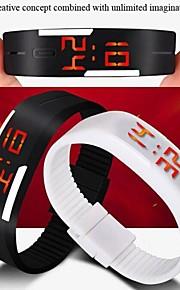 Unissex Relógio Esportivo Digital LED / Impermeável Silicone Banda Relógio de Pulso / Doce Preta / Branco / Vermelho / Rosa