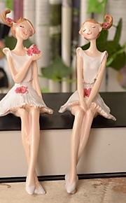 2 pcs europeu anjo menina artigos país das fadas bonito pintura de resina de decoração
