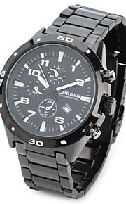 Masculino Relógio de Pulso Quartz Impermeável Aço Inoxidável Banda Preta marca- CURREN