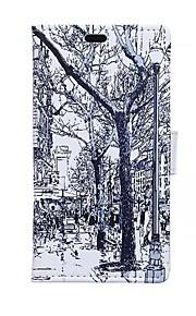 un cuero de la PU caso de cuerpo completo boceto tarjeta de patrones de la calle de la carpeta para HTC Desire 826