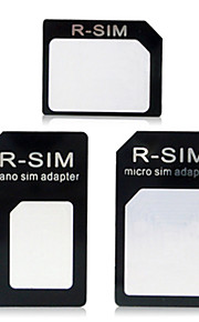 nano til mikro sim + nano sim til sim + micro sim til sim adapter for iphone 4 / 4s / 5 / 5s / 6 / plus - svart