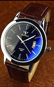 couro de alta qualidade blue ray relógio de quartzo de negócios de vidro