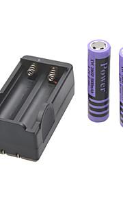 stroom batterijlader voor 18650 oplaadbare Li-ion batterij (inbegrepen 2x5800mah 4.2V)