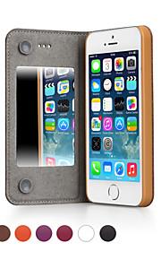 ggmm® äkta läder hela kroppen fallet med spegel för iPhone5 / 5s (blandade färger) med fri skärm skyddad film