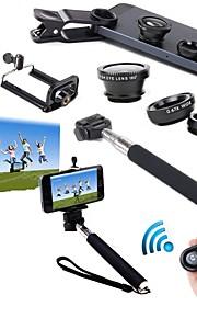 5 в 1 комплект ручной монопод + держатель телефона + Bluetooth затвор + рыбий глаз + широкоугольный&макро-объектив для Iphone