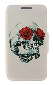 kinston® rose&design pattern crâne en cuir PU couverture complète du corps avec support pour HTC Desire yeux / M910