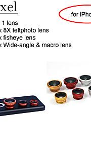 apexel 4 i 1 skit 8x vit teleskop lins + fisheye-objektiv + vidvinkel + makrokameralinsen med fallet för iphone 5c
