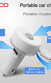 mini cavo retrattile micro usb caricabatterie speciale portatile da auto per iPhone / iPad / iPod (5v 2.1a)