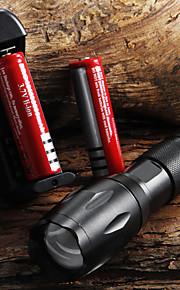 Kraftig, justerbar LED-lommelygte (1x18650) E17 CREE XM-L T6 2000 LM + 2 batterier + lader
