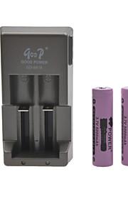 godp batterijlader voor 18650 oplaadbare lithium-ion batterij (inbegrepen 2x5000mah 18650)