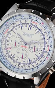 auto-mecânica 6 ponteiros de relógio pulseira de couro preta dos homens (cores sortidas)