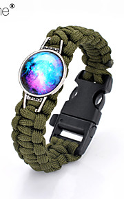 Lureme®Europestyle Brief Army Green Weave Parachute Cord Blue Starry Sky Time Gem Survival Whistle  Alloy Bracelet