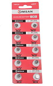 comsan AG1 / lr621 / 364 / SR621SW / 164 hoge capaciteit knop batterijen (10st)