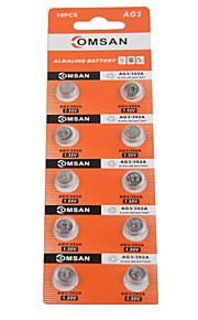 comsan AG3 LR41 392 hoge capaciteit knop batterijen (10st)