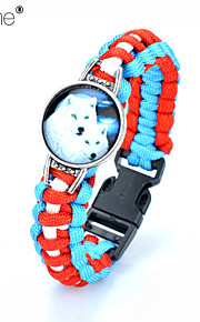Lureme®Europestyle Brief Sky Blue Intertwine  Red White Weave Parachute Cord Two White Wolf Time Gem Alloy Bracelet