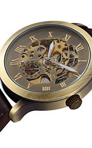 pulseira de couro mostrador esqueleto bronzen do vintage auto vento automático relógio de pulso dos homens