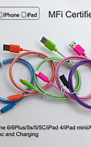 yellowknife Apple MFi Certified Lightning to USB Multicolour Braid Cable for iphone 6/6plus/5s/5/ipad Sync and Charging