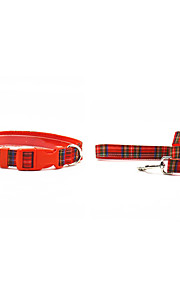The Oxford Grid Style Pet Collar and Leash Suit (Assorted Sizes,Colors)