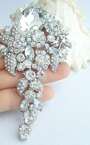 bryllup 4.13 tommer sølv-tone klar rhinestone krystal brude broche bryllup deco brudebuket bryllup blomst broche