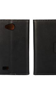 couleur unie élégant véritable cuir flip cas de fente de carte couverture de portefeuille avec le stand pour lg joie