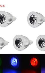 5pcs hry® 3W MR16 RGB LED lyspære lampe lys 16 farge endring + IR-fjernkontroll (85-265v)