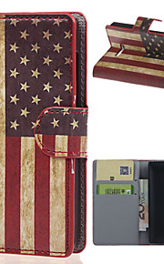 マイクロソフトノキアlumia 435電話バッグケース用カードスロットフリップカバーケースとヴィンテージアメリカンフラグ財布レザー