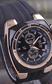 relógios dos homens do esporte novo da série v6 de negócio preto silicone relógio pulseira de quartzo dos homens