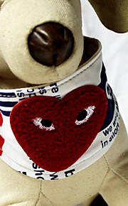 Romantic Heart Pattern White Textile Puppy Bandanas Collars For Dogs