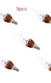 5 stk. HRY E14 3W 3 Høyeffekts-LED 300 LM Varm hvit / Kjølig hvit Roterbar Dekorativ LED-lysestakepærer AC 220-240 V