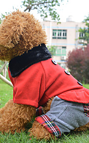 Red Cotton/Polar Fleece Fashion and Europea Four Woolen Clothes For Dogs/Pets