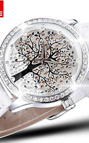 skone® mærke krystal diamant rhinestone stort træ dial mode ure kvinder kvarts ur læder armbåndsur