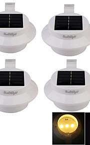youoklight® 4stk vanntett 0.3W 40lm 3-ledede varm hvit / kaldhvit solcelledrevet hage vegglampe - hvit / svart
