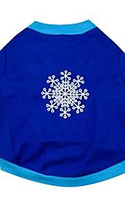 Katte / Hunde T恤衫 Blå Forår/Vinter Jul / Snefnug Jul, Dog Clothes / Dog Clothing-Other