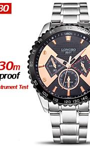 marca longbo® relojes impermeables de moda de acero llena de cuarzo ocasional de relojes de lujo de relojes masculinos chock