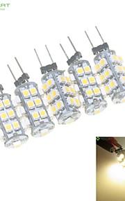5 x G4 / MR11/ GU4 / GZ4  2W 25x3528SMD Warm White / White 160LM Led Light Bulbs (DC 12V)