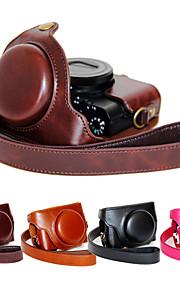 dengpin pu de couro da câmera caso saco de cobrir com alça de ombro para Sony DCS-RX100 m4 RX100 iv (cores sortidas)