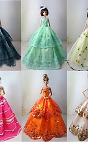 Barbie Doll Multicolor Princess Dresses (6 pcs)