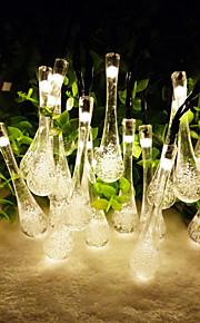 konge ro 6.5m 30led waterdrop form string lys til jul solenergi utendørs vanntett fairy lys