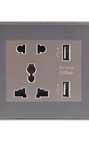 универсальный пять отверстий Dual USB зарядки разъем (нержавеющая сталь щеткой шампанское)