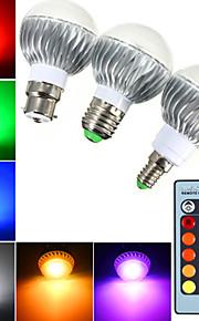 1 stk. YWXLight E14 / B22 / E26/E27 5W 3 Høyeffekts-LED 400 lm RGB B Dimbar / Fjernstyrt / Dekorativ LED-globepærer AC 85-265 V