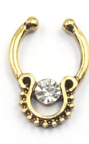 Stylish Rhinestone U-Shaped Fake Septum Nose Ring For Women