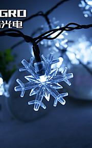 konge ro solcelle 21.32ft 30led snø fnugg lette julebord dekorasjon lys utendørs vanntett string lys